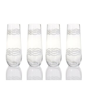 Quincy Nautical Braided Rope Design Champagne Glass (Set of 4)