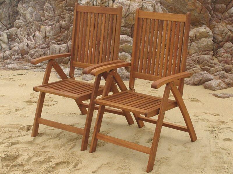 indoba® 2 x Gartenstuhl Bangor Hochlehner IND-70062 Holz teak-ähnlich