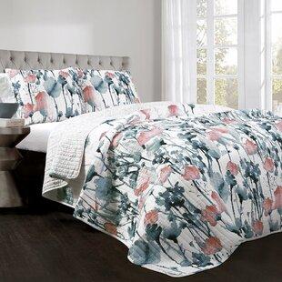 Daniella Flora Cotton 3 Piece Reversible Quilt Set