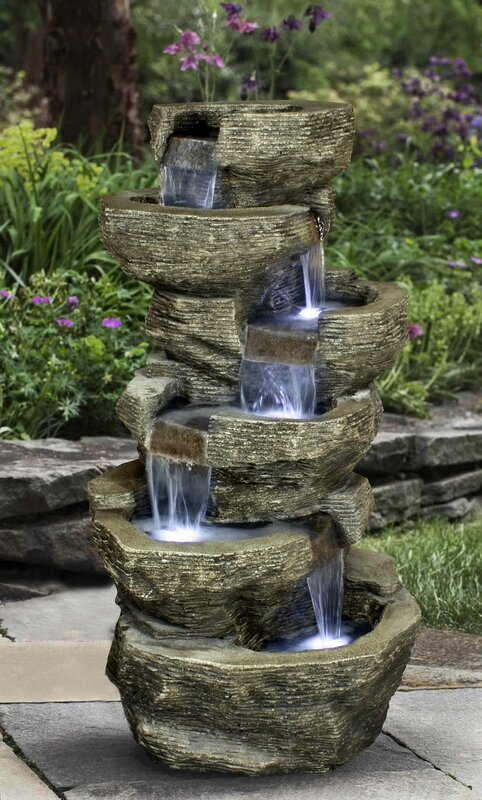 Resin Tiered Rock Waterfall Outdoor Garden Fountain With Light