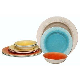 Crackle 12 Piece Melamine Dinnerware Set Service for 4 (Set of 4)  sc 1 st  Wayfair & Crackle Dinnerware | Wayfair