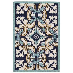 Demirhan Floral Tile Blue Indoor/Outdoor Area Rug