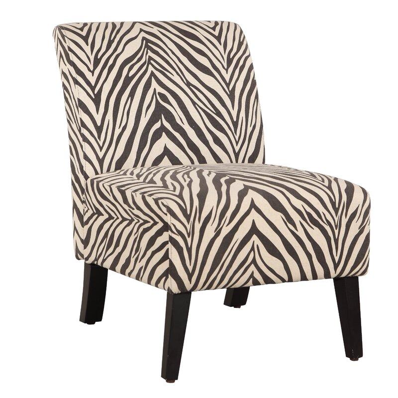 Superb Geira Linen Zebra Slipper Chair