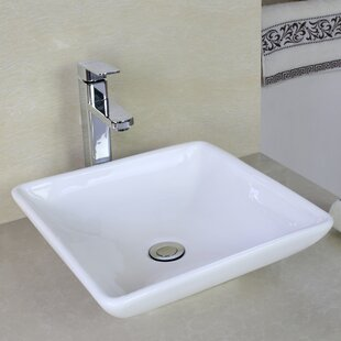 American Imaginations Ceramic Square Vessel Bathroom Sink with Overflow