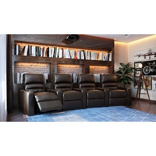 Waterfall Blue LED Home Theater Curved Row Seating (Row of 4) Latitude Run