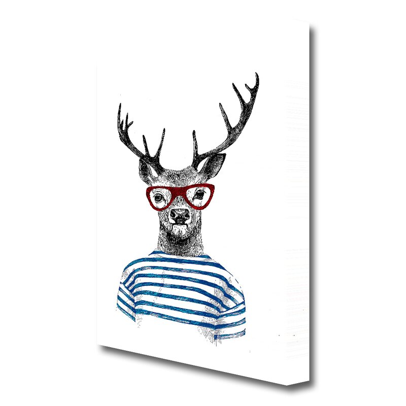 East Urban Home Steve The Stag 1 Wild Life Graphic Art Print On Canvas Reviews Wayfair Co Uk