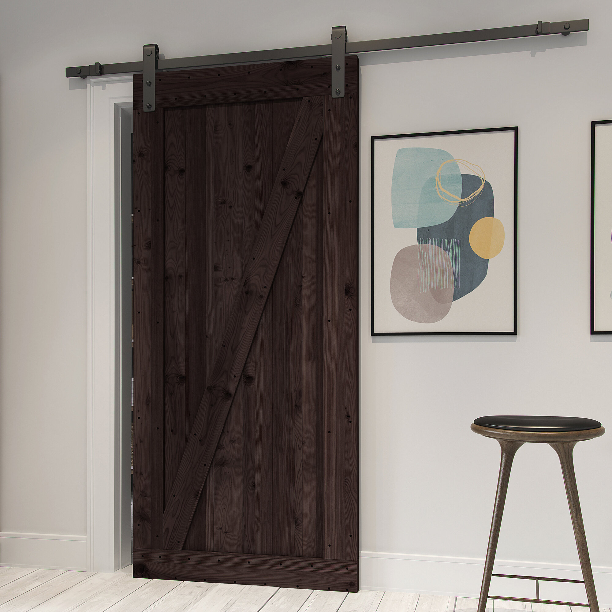 Northbeam Paneled Wood Finish Prehung Barn Door With Installation Hardware Kit Reviews Wayfair