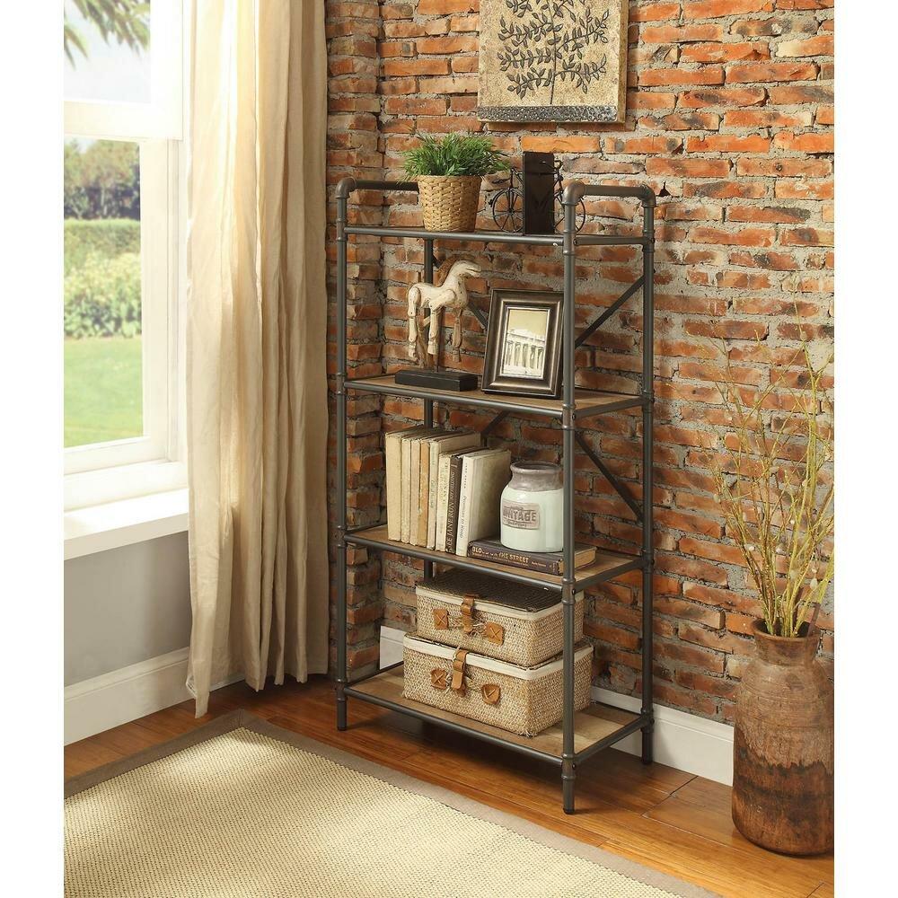 17 Stories Crocker Industrial 4 Tier Shelf Etagere Bookcase Reviews Wayfair