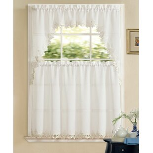 Brookport Luxurious Matte Sheer Kitchen Curtain By Charlton Home