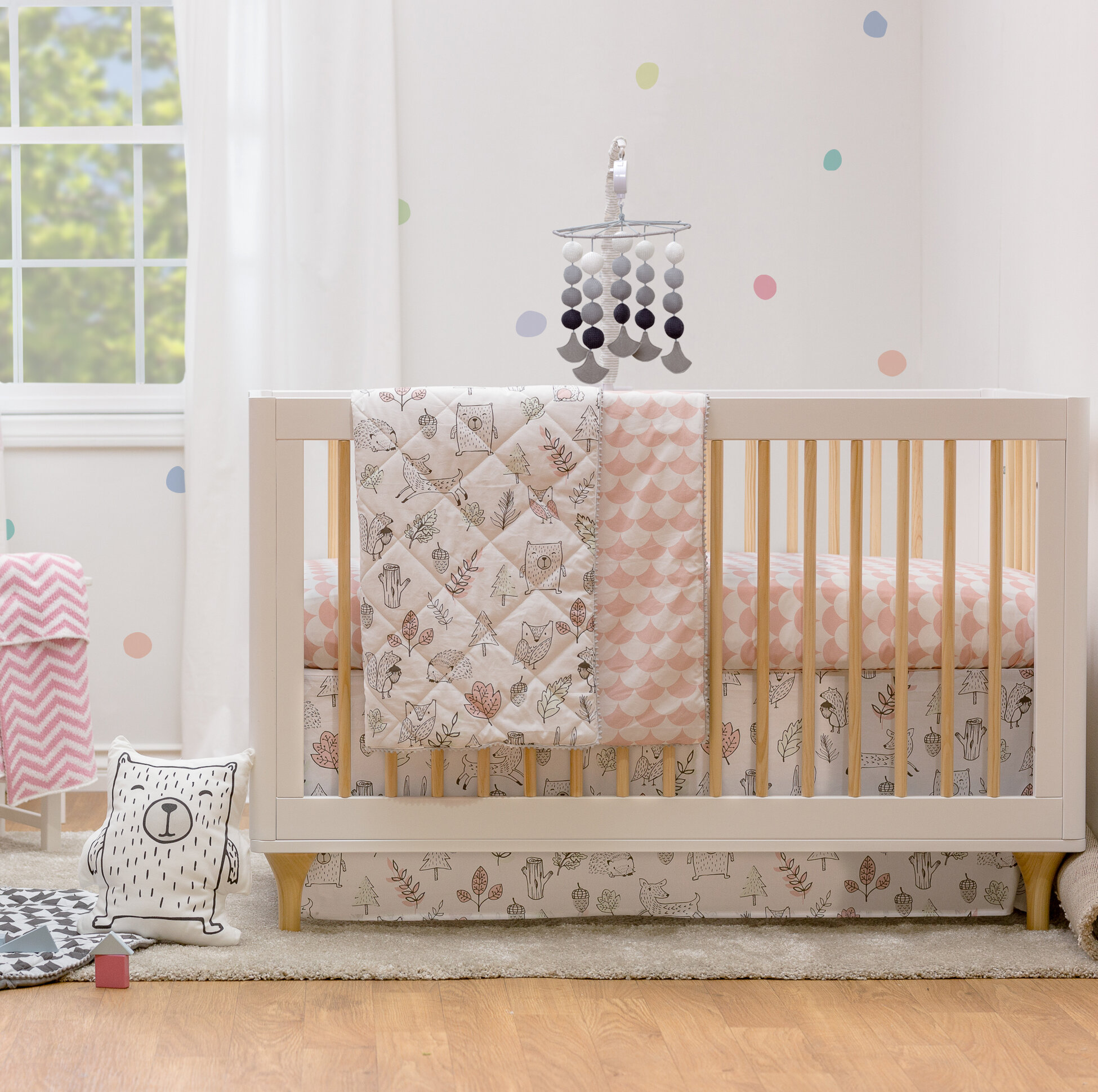 New 7 Pcs Baby Bedding Set Baby Cot Crib Bedding Set Cartoon Animal Baby Crib Set Quilt Bumper Sheet Skirt Harmonious Colors Mother & Kids