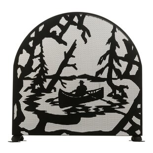 Canoe at Lake Single Panel Steel Fireplace Screen by Meyda Tiffany