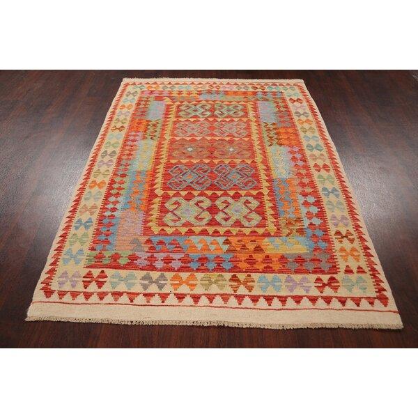 Rugsource Geometric Handmade Kilim Wool Orange Beige Area Rug Wayfair