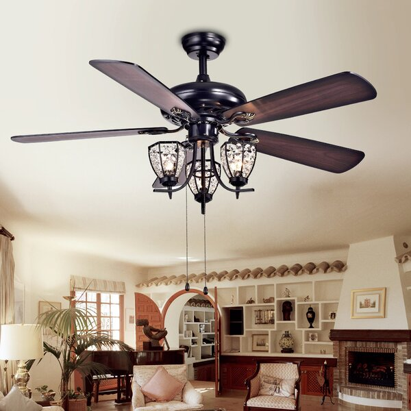 House Of Hampton 52 5 Blade Ceiling Fan With Light Kit Included Reviews Wayfair