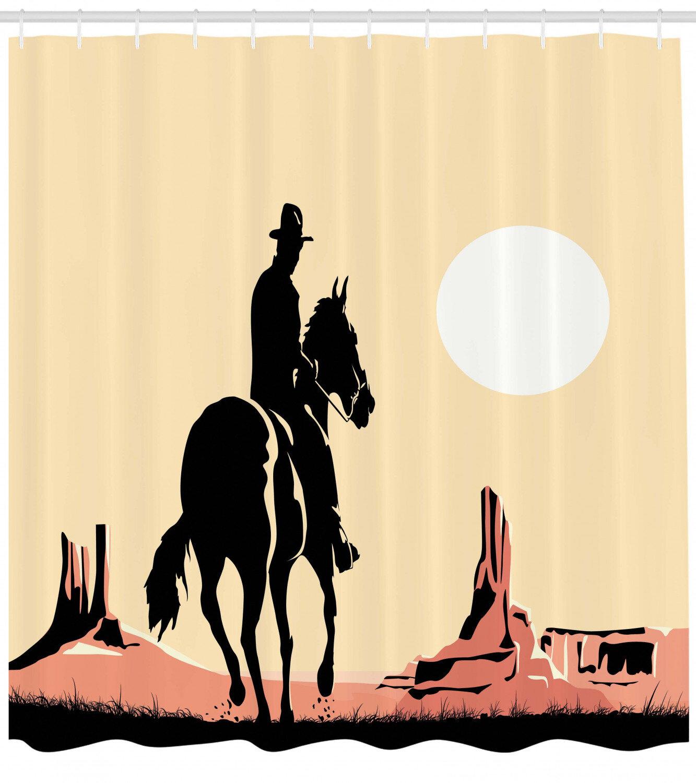 Animal Shower Curtain Abstract Art Wild Horse Print for Bathroom