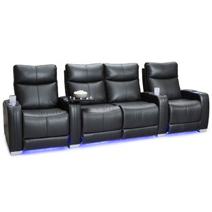 Leather Home Theater Row Seating Row of 4  by Latitude Run