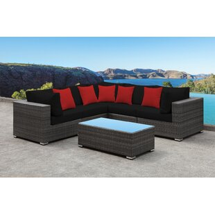 Orren Ellis Yeager 5 Piece Rattan Sectional Set with Cushion