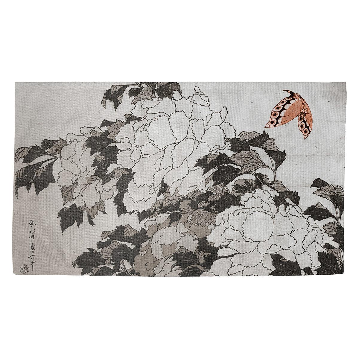 World Menageriepeonies Butterfly Dobby Indoor Doormat Wayfair
