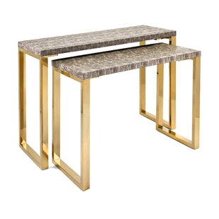 Ebert Wood and Metal 2 Piece Console Table Set