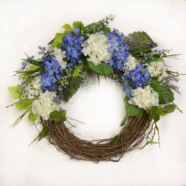 Blue And White Hydrangea Silk Door Wreath