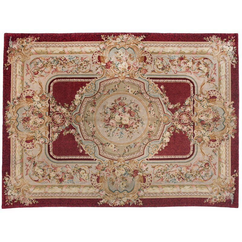 Aga John Oriental Rugs One Of A Kind Savonnerie Hand Knotted Beige Red 9 X 12 Wool Area Rug Wayfair