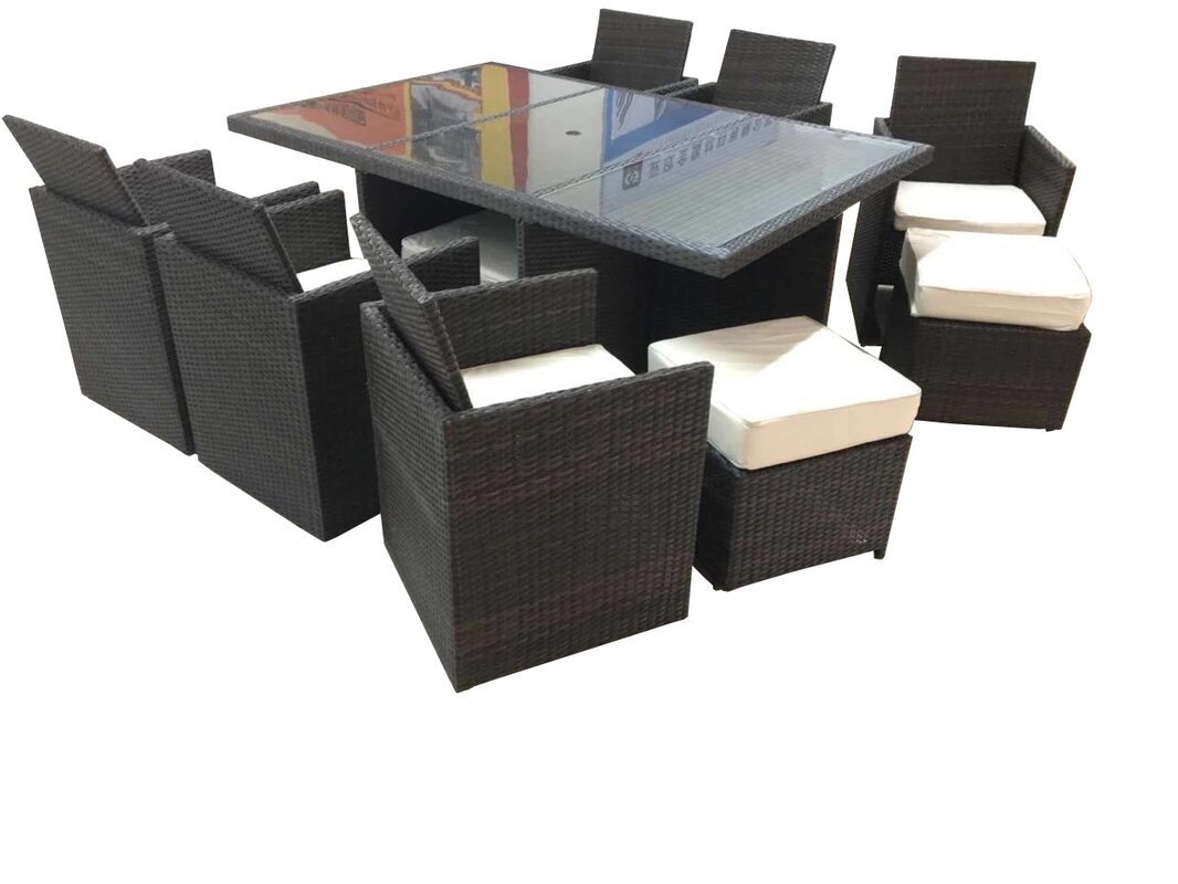 dutil tuckaway 11 piece dining set with cushions