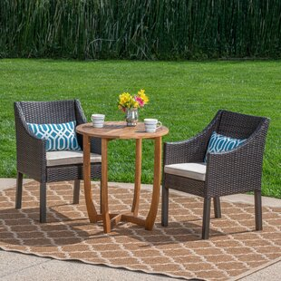Ebern Designs Villatoro Outdoor 3 Piece Bistro Set with Cushions