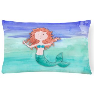 Twila Ginger Mermaid Watercolor Lumbar Pillow
