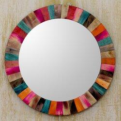 Turquoise Wall Mirror novica mango wood hand crafted wall mirror | wayfair