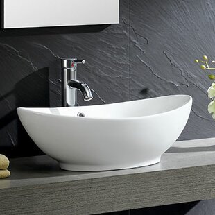 Bon Modern Ceramic Oval Vessel Bathroom Sink With Overflow