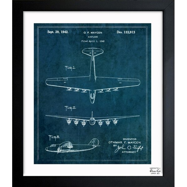 Oliver Gal Airplane 1942 Framed Graphic Art & Reviews | Wayfair