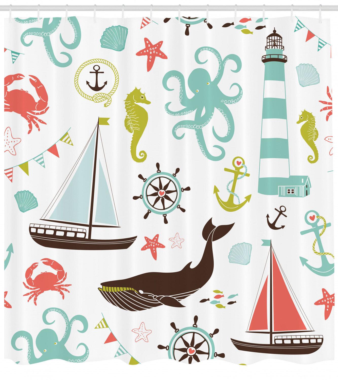 Nautical Shower Curtain Set Hooks