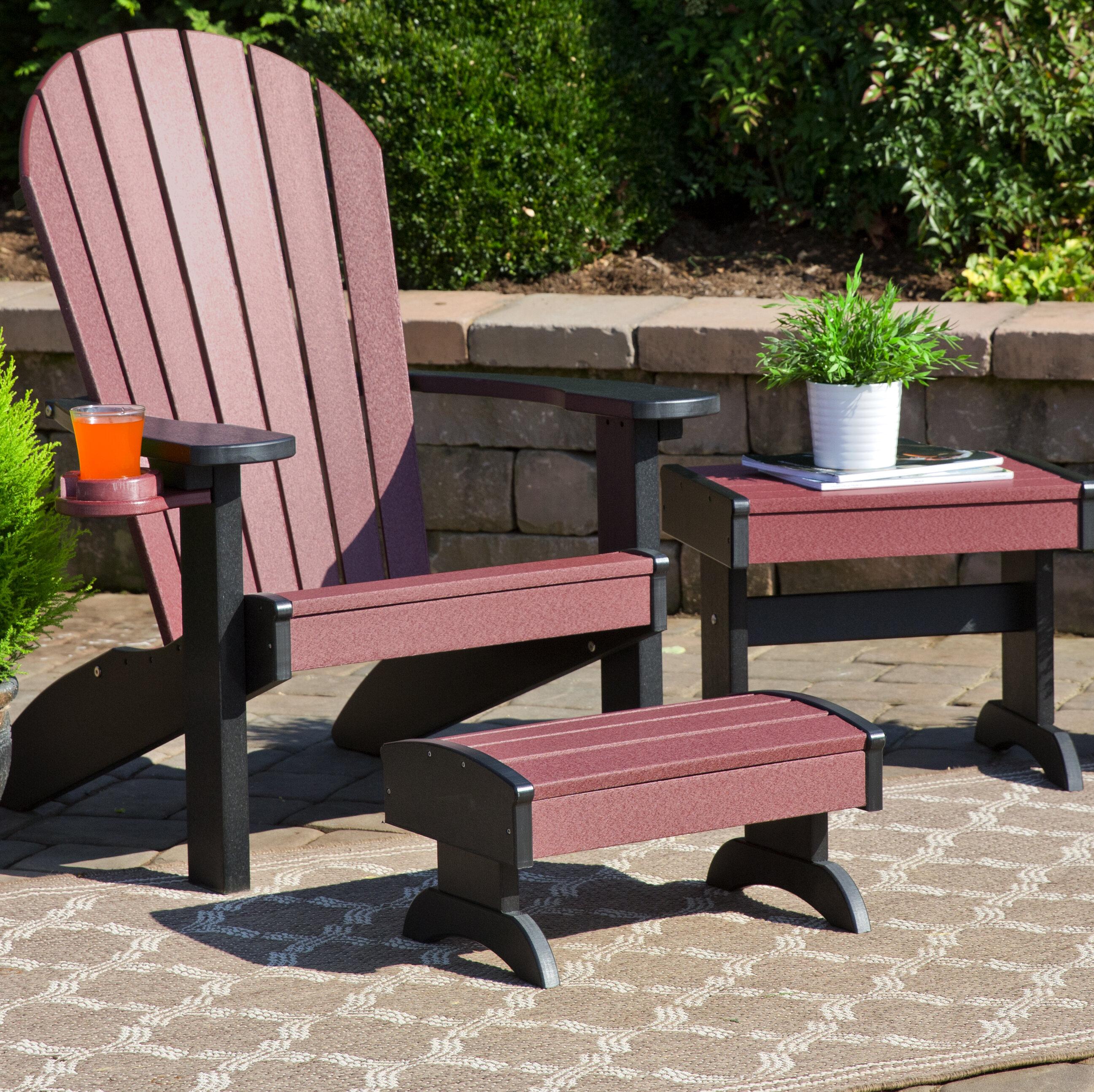 Bayou Breeze Kells Plastic Adirondack Chair Set With Ottoman And Table Wayfair