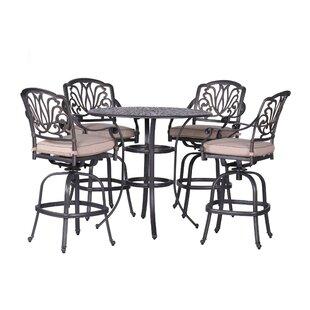 Fleur De Lis Living Gunter 5 Piece Bar Height Dining Set with Sunbrella Cushions