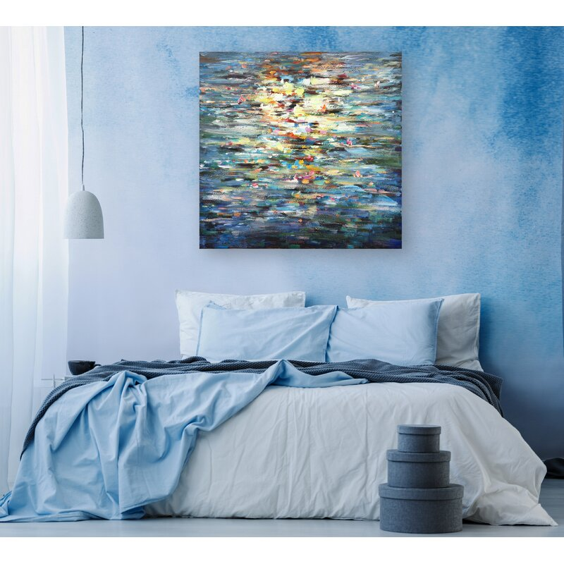 Beach Wall Decorations - 'Water Reflection' Oil Painting Print on Wrapped Canvas