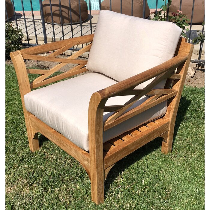 Tremendous Lorenzo Outdoor Teak Club Chair And Ottoman With Cushions Cjindustries Chair Design For Home Cjindustriesco