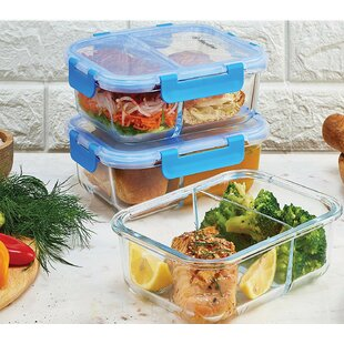 Aliza Glass Meal Prep 32 Oz. Food Storage Container (Set of 3)