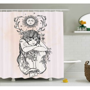 Pink Occult Girl under Sun Single Shower Curtain