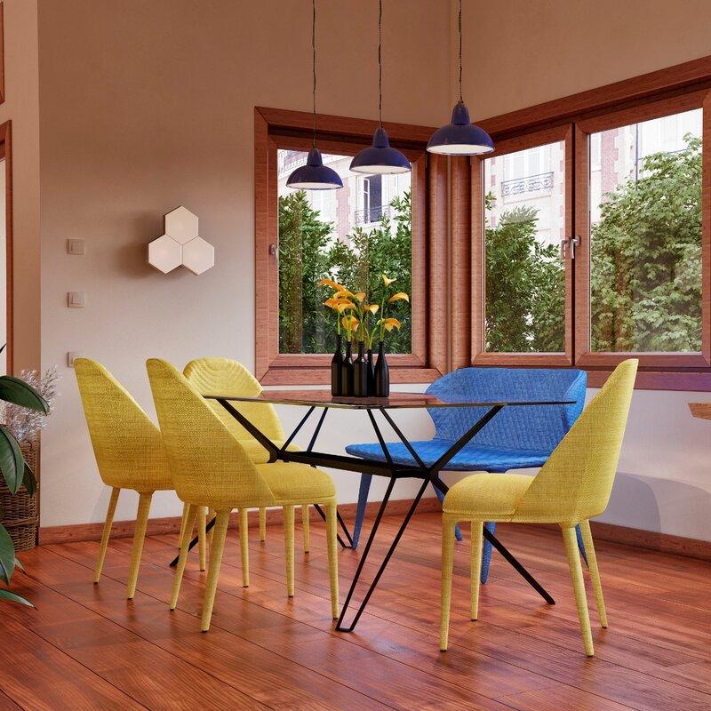 orren ellis camron metal base dining table & reviews | wayfair
