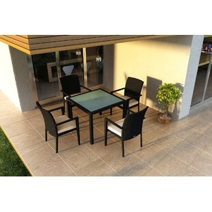 Harmonia Living Urbana 5 Piece Sunbrella Dining Set with Cushions