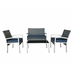 Mcgrady 4 Piece Rattan Sofa Seating Group with Cushions by Wrought Studio