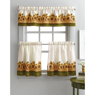 Pierceton Sunflower Graden 3 Piece Kitchen Curtains
