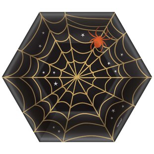 Halloween Spider Web Paper Appetizer Plate (Set of 16)