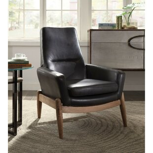 Avis Faux Leather Upholstered Wooden High Back Armchair by Corrigan Studio