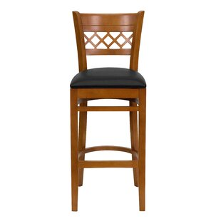 Escarcega Lattice Back Wooden Restaurant Bar Stool DarHome Co