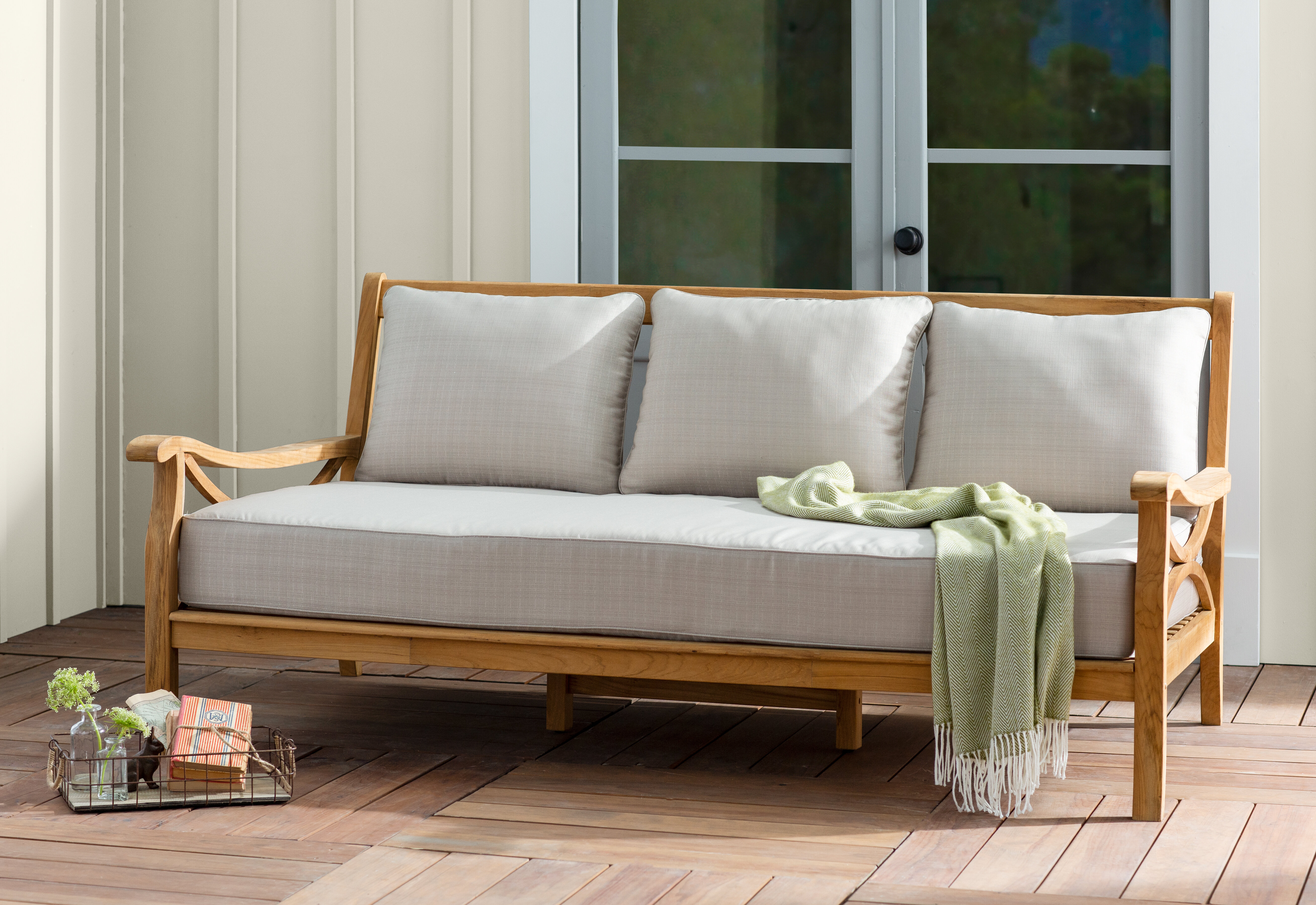 Brunswick Teak Patio Daybed With Cushions Reviews Birch Lane