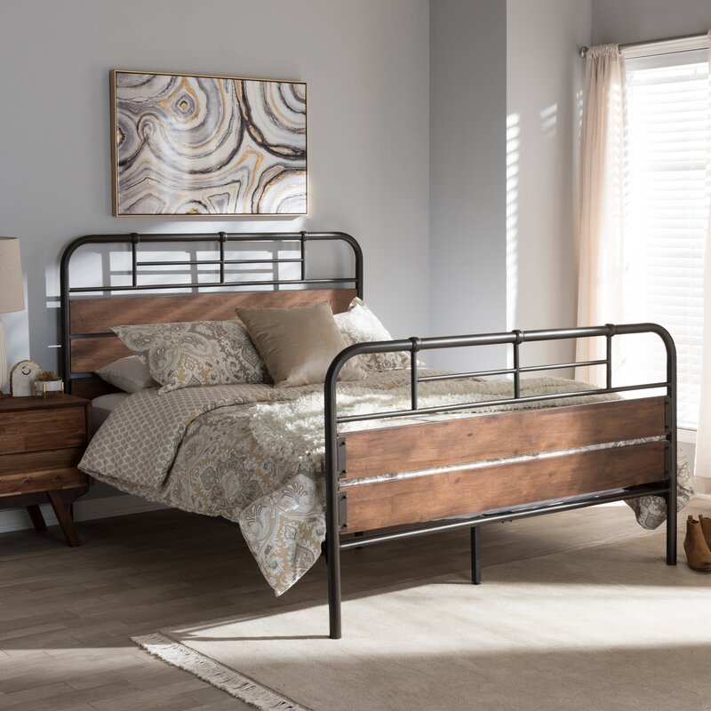 Kwamina Rustic Industrial Full Double Platform Bed
