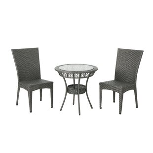 Beeler Outdoor 3 Piece Wicker Bistro Set