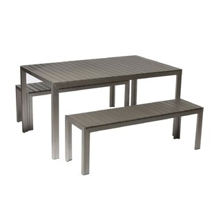 Corrigan Studio Abram Effortlessly Uncomplicated Anodized Aluminum 3 Piece Dining Set