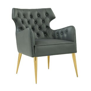 Keegan Leather Armchair by Everly Quinn