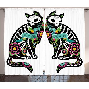 Vernetta Day of The Dead Graphic Print and Text Semi-Sheer Rod Pocket Curtain Panels (Set of 2) by Latitude Run